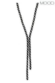 Mood Black Plated Jet Crystal Diamante Lariat Necklace
