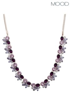 Mood Rose Gold Plated Purple Crystal Tonal Cluster Necklace