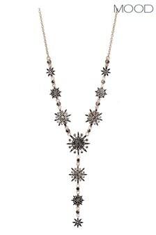 Mood Rose Gold Plated Jet Crystal Celestial Y Shape Necklace
