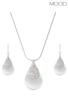 Mood Silver Pave Teardrop Earring and Necklace Gift Set