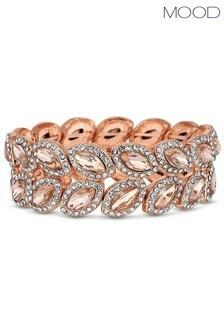 Mood Rose Gold Plated Crystal Leaf Stretch Bracelet
