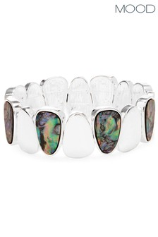 Mood Silver Plated Abalone Effect Stretch Bracelet