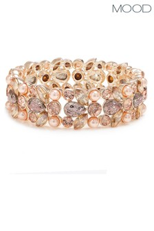 Mood Rose Gold Plated Peach Encrusted Stretch Bracelet