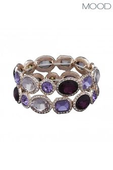 Mood Rose Gold Plated Tonal Purple Stretch Bracelet