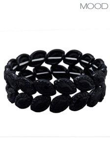 Mood Black Plated Jet Crystal Halo Stretch Bracelet
