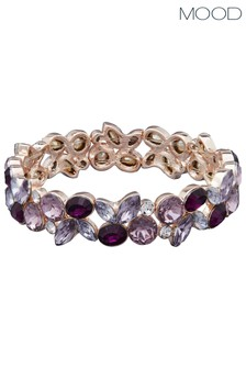 Mood Rose Gold Plated Purple Crystal Tonal Cluster Str