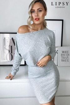 Lipsy Grey Slash Neck Cosy Dress