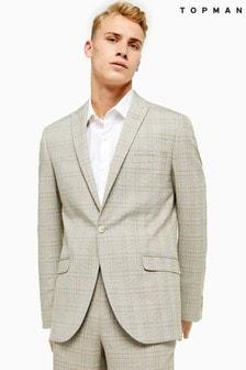 Topman Check Single Breasted Slim Fit Blazer With Peak Lapels