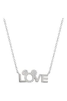 Disney Silver Plated Mickey & Minnie Brass Necklace