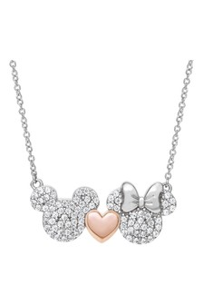 Disney Sterling Silver Mickey & Minnie Adult Necklace