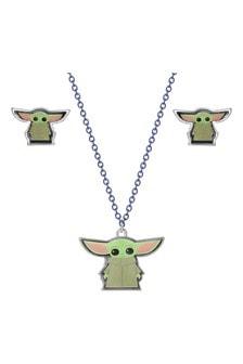 Disney Cartoon Print Star Wars The Child Baby Yoda Earring  Necklace Set
