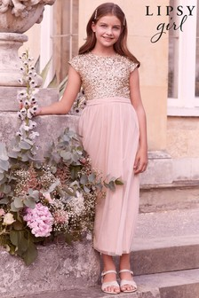 Lipsy Pink Sequin Bodice Occasion Maxi Dress