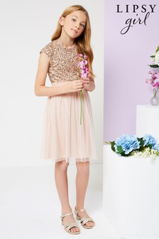 Lipsy Pink Sequin Bodice Occasion Dress