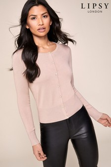 Lipsy Pink Diamanté Button Cardigan