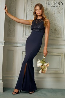Lipsy Navy Sequin Lace Top Maxi Dress