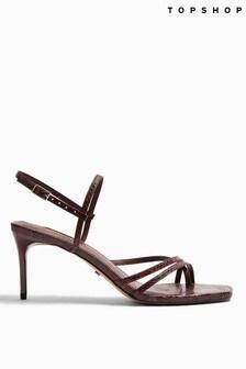 Topshop Burgundy Nicole Strap Sandals
