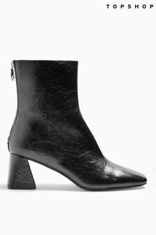 Topshop Black Breeze Square Toe Boots