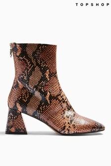 Topshop Brown Breeze Square Toe Boots
