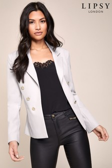 Lipsy Stone Military Tailored Button Blazer