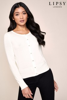 Lipsy White Diamanté Button Cardigan