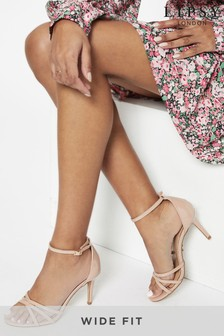 Lipsy Nude Wide Fit Barely There Heeled Sandal