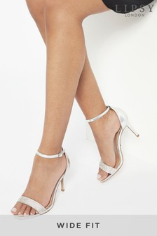 Lipsy Silver Wide Fit Diamante Heeled Sandal