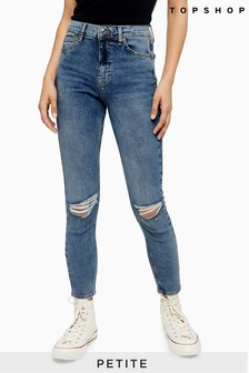 "Topshop Mid Wash Petite Ripped Jamie Jeans 28"" Leg"