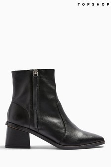 Topshop Black Margot Leather Boots