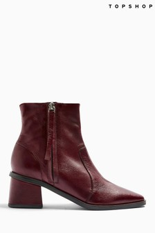 Topshop Red Margot Leather Boots