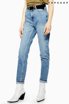 "Topshop Light Wash Rip Mom Jeans 32"" Leg"