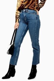 "Topshop Raw Hem Straight Leg Jeans 34"" Leg"
