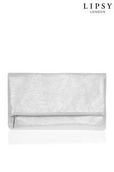 Lipsy Silver Velvet Foldover Clutch