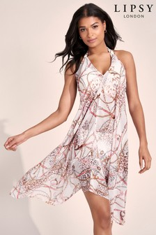 Lipsy Brown Floral Printed Mix Dress