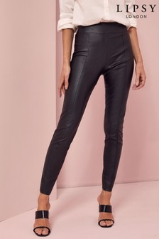 Lipsy Black Regular Seam Detail Leather Look Leggings