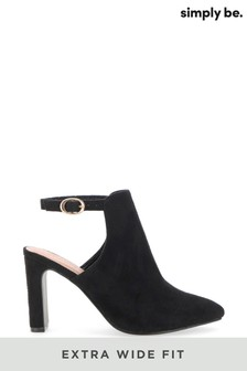 Simply Be Black Extra Wide Fit Back Strap Shoe Boot