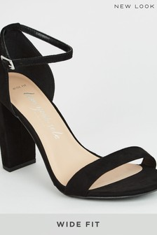 New Look Black Wide Fit Suedette 2 Part Block Heels