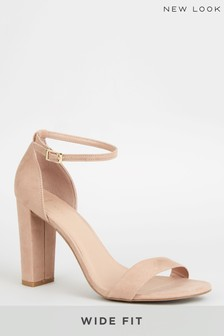 New Look Oatmeal Wide Fit Suedette 2 Part Block Heels