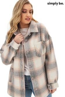 Simply Be Longline Check Shacket