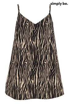 Simply Be Black Printed V neck Faced Cami