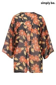 Simply Be Black Floral Boxy Kimono