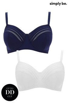 Simply Be Navy & White Non Wired Bra 2 Pack