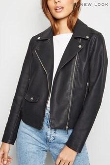 New Look Leather Look Biker Jacket