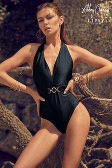 Abbey Clancy x Lipsy Black Plunge Swimsuit