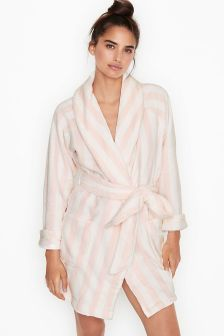 Victoria's Secret Pink Stripe Logo Short Cozy Robe