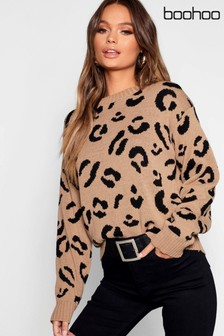 Boohoo Camel Knitted Leopard Jumper