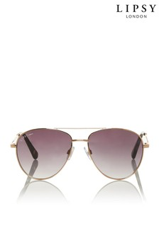Lipsy Gold Smoked Lense Aviator Sunglasses