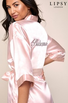 Lipsy Pink Bridesmaid Bridal Satin Robe