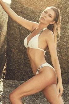 Abbey Clancy x Lipsy White Ribbed Hardwear Bikini Bottom