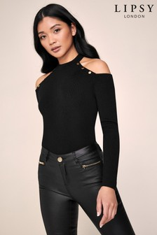 Lipsy Black Button Cold Shoulder Jumper