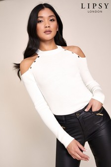 Lipsy Ivory Button Cold Shoulder Jumper